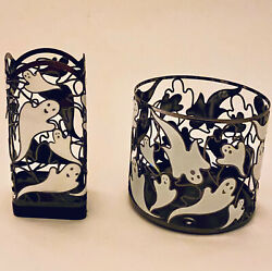 Bath Body Works HALLOWEEN DANCING GHOSTS 3 Wick Candle Holder Soap Holder $34.95