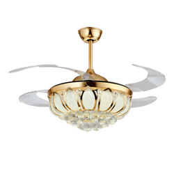 42quot; Crystal LED Chandelier Light Invisible Ceiling Fan Lighting Lamp Remote $132.05