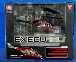 EXECUHELI WIRELESS INDOOR HELICOPTER RC Red amp; Silver 7quot; NEW IN BOX $25.00