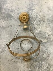Antique HANGING Oil Lamp FRAME Ornate BRASS Victorian Ceiling Parlor Library $85.00