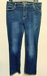 Rock 47 by Wrangler Embroidered Cross Women#x27;s Stretch Jeans Size 11 12 x 34 33 $23.95
