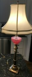 Pair of Vintage Fenton Cranberry Opalescent Swirl Brass Table Lamps $99.95