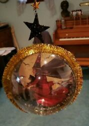 Vintage Halloween witch Hanging Globe Ornament 7quot; $9.99