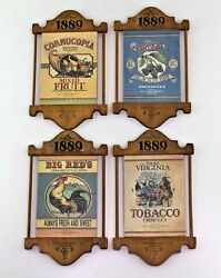 4 vintage country kitchen wooden advertising signs food tobacco plaques $24.95
