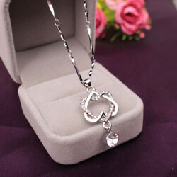 Silver Necklace Alloy Pendant for Women Cubic Zircon Jewelry Double Heart $4.99