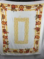 MCM Terrycloth Tablecloth Kitchen Theme Yellow Orange Rooster 49quot; X 60quot; $18.50
