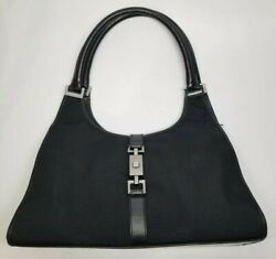 Authentic GUCCI Jackie Shoulder Hand Bag Nylon Leather Black Hobo Purse AS IS $95.00