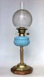 Antique Oil Lamp Opaque Turquoise Glass Font Acid Etched Shade Stadelmann Burner GBP 350.00