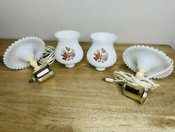 Vintage Hobnail Milk Glass Wall Sconces Pair Lamps Hand Painted Flowers $65.00