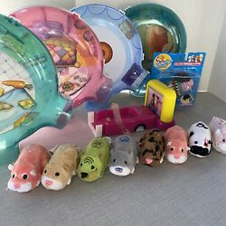 Lot of ZHU ZHU Pets Hamster Home ROOMS amp; 8 wkg Hamsters Drive In Argyle Set $65.00