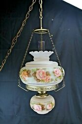 Vintage Hanging Swag Light Electric Student Lamp Hand Painted Pink Roses Home Li $160.00