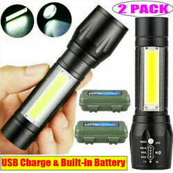 2PACK Tactical Torch 90000LM Powerful COB LED FlashlightRechargeable Battery $10.78