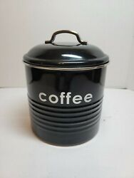 Coffee Storage Canister Kitchen Canisters Jars Pots Jar Container Metal Black $5.25