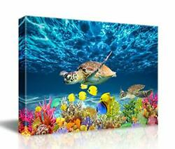 Sea Turtle Canvas Wall Art Kitchen Decoration Modern Colorful Framed 12x16quot; $22.99