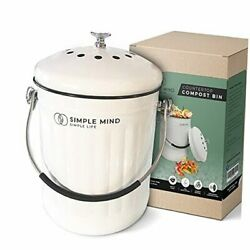 Countertop Compost Bin with lid 1.3 Gallon Vintage Compost Bucket White $49.10