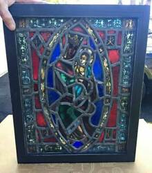 antique STAINED amp; KILN FIRED GLASS CHURCH WINDOW $635.00