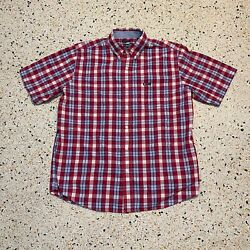 Chaps Button Up Shirt Mens Large Red Blue Plaid Easy Care Casual Short Sleeve $18.98