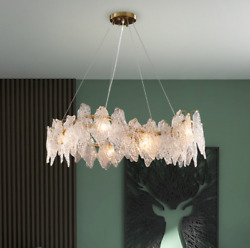 Luxury Round Crystal Light Leaves LED Glass Chandelier Gold Ceiling Pendant $429.00