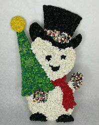 Melted Popcorn Plastic 18quot; Snowman Christmas Holiday Winter Vintage Decoration $16.95