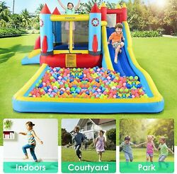 Safety Three Play Areas Inflatable Bounce House Kids Castle Slide w Blower 112j $335.99