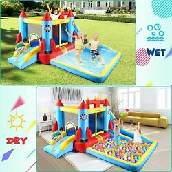 US Safety Three Play Areas Inflatable Bounce House Kids Castle Slide w Blower $335.99