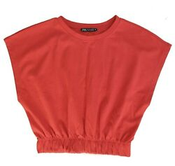 Zara red drop shoulder top with elasticated band waist size small brand new $9.99