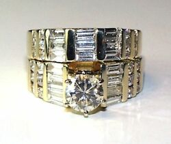 Vintage YG DIAMOND SET Center .99CT Approx. 2CT Total !
