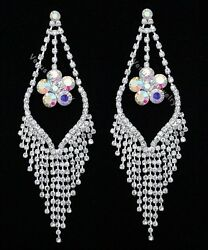 5quot; Bridal Prom Pageant AB Crystal Chandelier Earrings $14.99