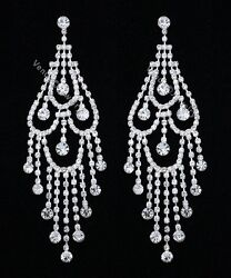 4.5quot; Bridal Wedding Pageant Crystal Chandelier Earrings $15.99