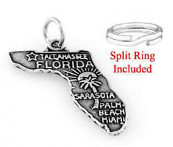 STERLING SILVER STATE OF FLORIDA CHARM W SPLIT RING $10.25