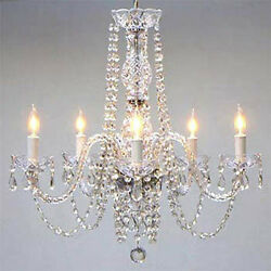 AUTHENTIC ALL CRYSTAL CHANDELIER CHANDELIERS LIGHTING 24quot; X 25quot; $93.80