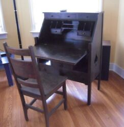 vintage desk 100 years old nice Oak with Chair spade museum piece $3000.00