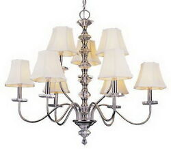 POLISHED CHROME 9 LIGHT CRYSTAL CHANDELIER WITH SHADES
