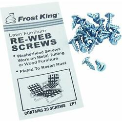 20 Pk. Plated Screws For Lawn Furniture Re-Webbing Kit X 24  Thermwell ZP1