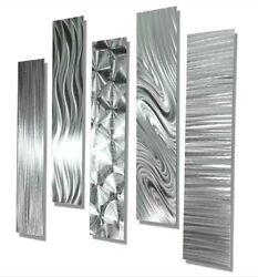 Silver Modern Abstract Large Metal Wall Art 5 Panel contemporary Decor Jon Allen $215.00