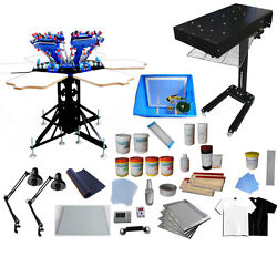 6 Color Silk Screen Printing Press Equipment Kit with Complete Supply Materials