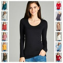 WOMENS PREMIUM SOFT ROUND CREW NECK LONG SLEEVE FITTED T SHIRT TOP WARM S-3X $8.95