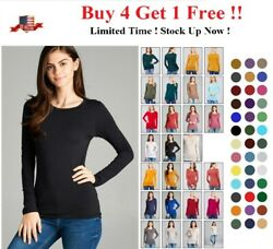 WOMENS CREW NECK LONG SLEEVE BASIC TOP COTTON STRETCH SLIM FITTED T SHIRT S 3X $8.95