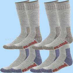 Wolverine Men Socks HUNTER WOOL Over the Calf 2 pairs Boot Sock Brown Navy Large $14.99