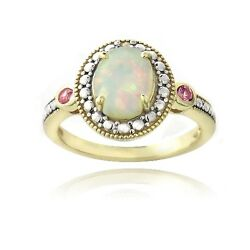 Gold Tone over Silver Diamond Accent Created White Opal Πnk Sapphire Oval Ring