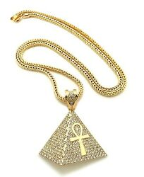 Egyptian Ankh Cross in Pyramid Pendant 36quot; Franco Chain Hip Hop Necklace XP930 $35.99