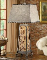 Autumns Light Table Lamp Rustic Lake Log Cabin Lodge Night Light In Base 35quot;H $300.00