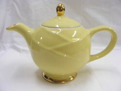 Vintage Porcelain Pottery 6 Cup Hall Teapot 0219 Yellow with Gold Knob