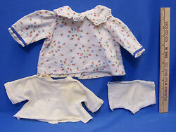 Vintage Hand Made Doll Clothes Hand Sewn Flannel Shirt Top & Panties Lot of 3