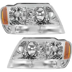Headlight Set For 99-2004 Jeep Grand Cherokee Left and Right With Bulb 2Pc $85.21