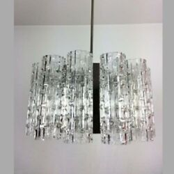 Vintage Original DORIA LEUTCHEN Ice Glass Chandelier - 12 Light