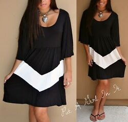 PLUS SIZE BLACK CHEVRON STRIPED BOHO 34 BELL SLEEVE MINI DRESS BOHO XL 1X 2X 3X $26.95