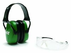 Howard Leight Adult Shooting Combo Earmuffs Green & Glasses Clear #R-01761