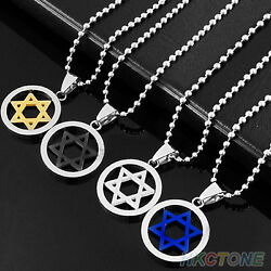 Stainless Steel Star Of David Pendant Necklace Choice Of 4 Styles U.S Seller $10.13