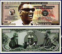 1 Ray Charles Million Dollar Bill Music with clear protector sleeve NOVELTY Q $1.55
